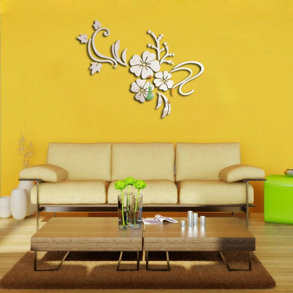 DIY Flower Acrylic Mirror Wall Stickers Art Wall Decor Home Bedroom ...