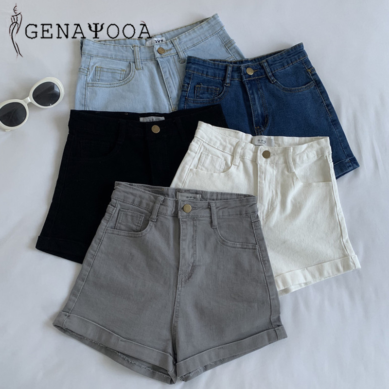 Genayooa Skinny Denim Shorts Solid High Waist Jeans Shorts Women Summer 2020 Korean Cotton Black White Washed Sexy Shorts Women