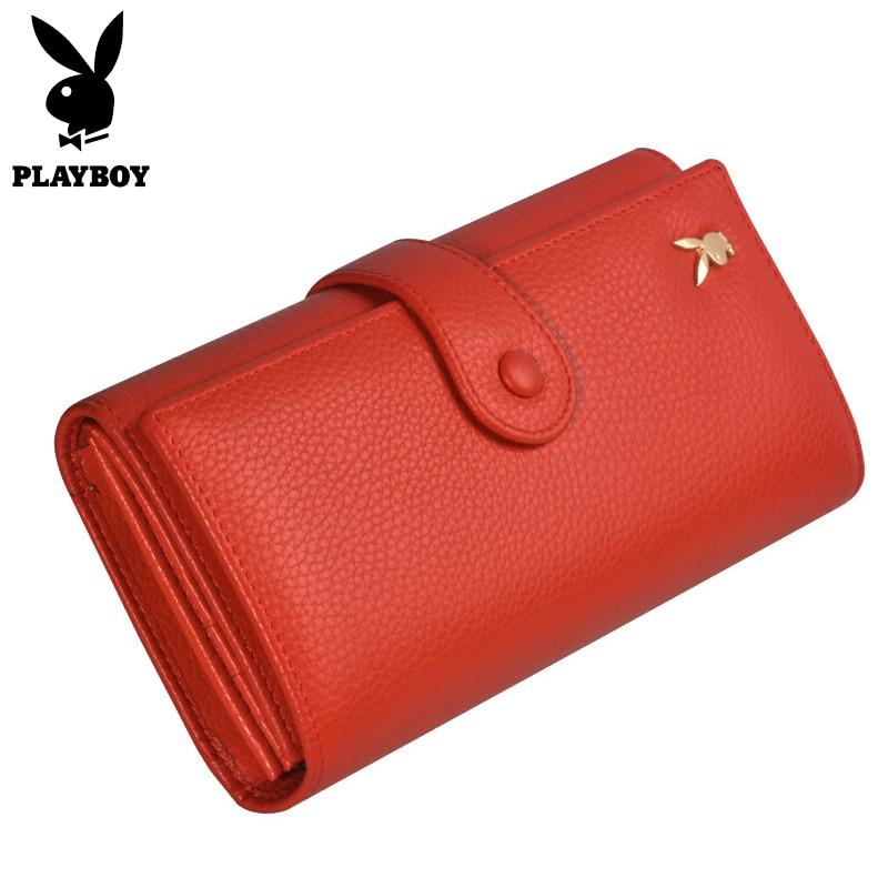 Playboy Luxury Women Wallets Long Genuine Leather Clutch Bag Female Card Holder Organizer Purses Ladies Cowhide Phone Wallet