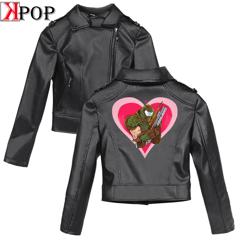 Doom Eternal SHEIN 2019 New Clothes print Black PU   Leather   Jackets Women Slim women's   leather   jacket   Leather   Brand Coat