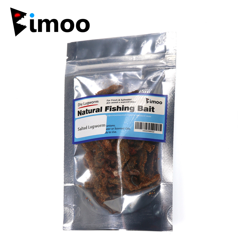 Bimoo 20g/bag Salted Lugworm Sand Worm Fishing Bait Fresh Water & Saltwater Lug Worms