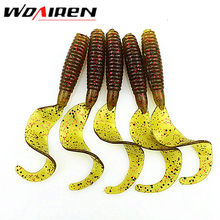 5 Pcs/lot 6cm 2g silicone bait Artificial Curly Tail Maggots Grub Worm Fishing Lures Soft bait lure Sea River Lake Fishing YR-34