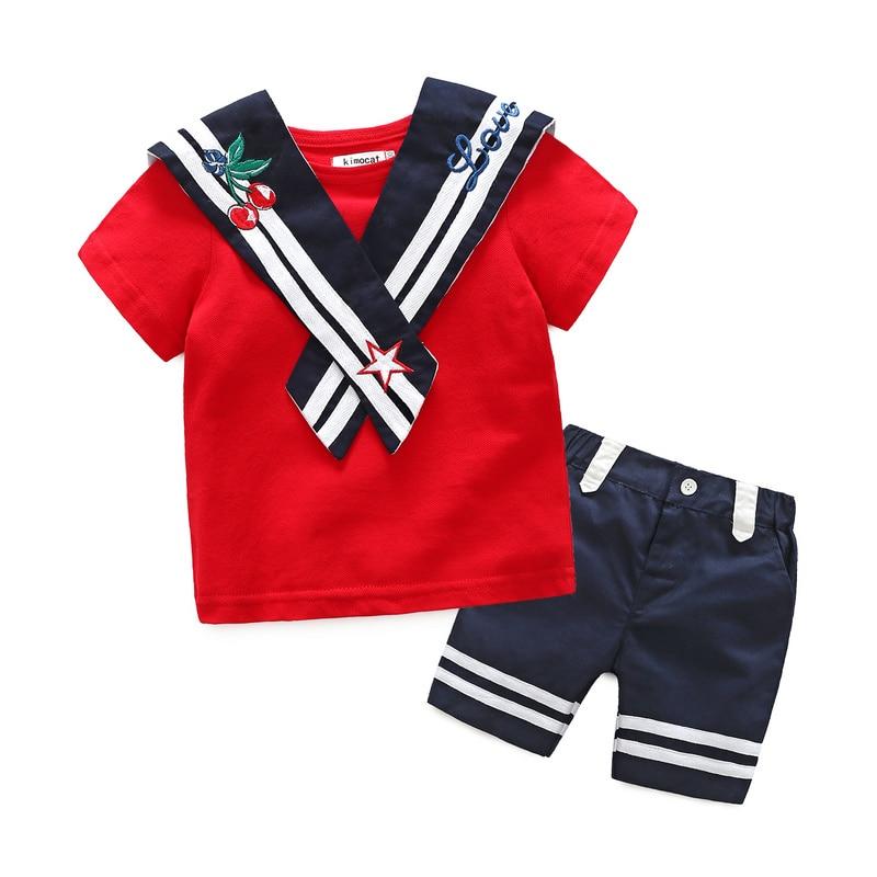 Kimocat Boys Gentleman Suit Red Sailor Boys children Clothing 2pcs T shirt+Shorts Kids Preppy Striped School Uniform 7 Years