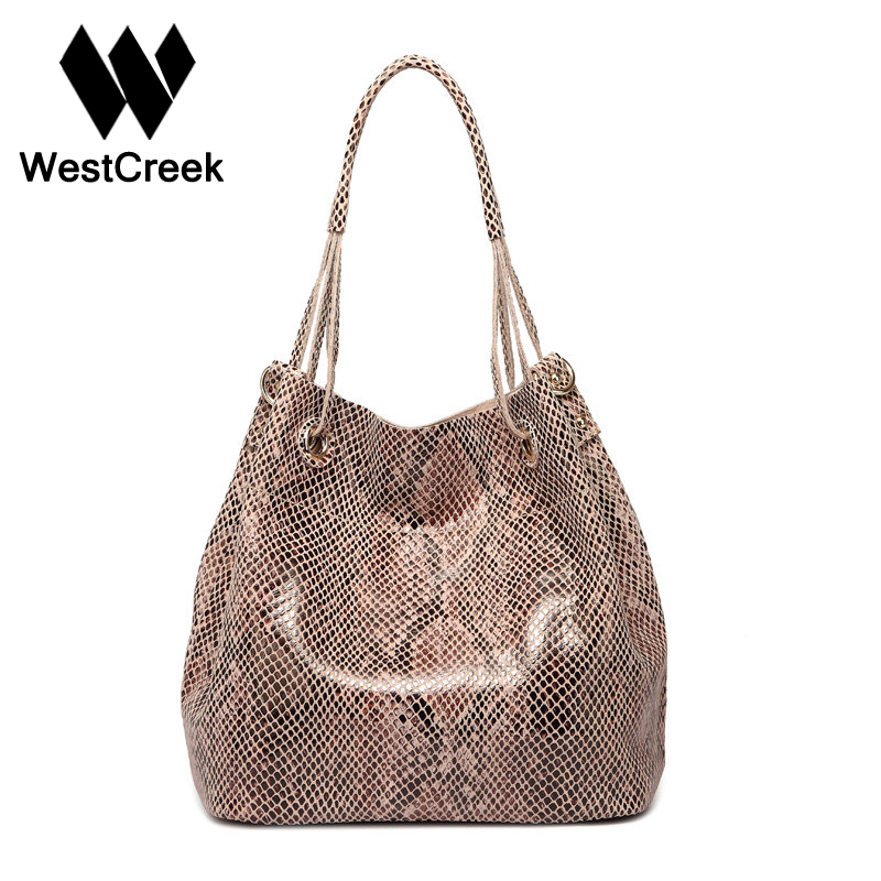 Westcreek Brand Women Genuine Leather Tote Bag Female Fashion Serpentine Snake Skin Pattern Handbag Designer Large Shoulder Bag yuanyu 2017 new hot free shipping real python skin snake skin color women handbag elegant color serpentine fashion leather bag