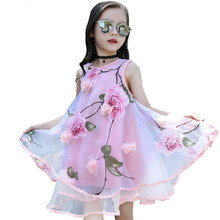 лучшая цена New Girls summer dress flower party long kids dresses for girls Teen Children princess dress girl Clothing 4 10 to 12 year old