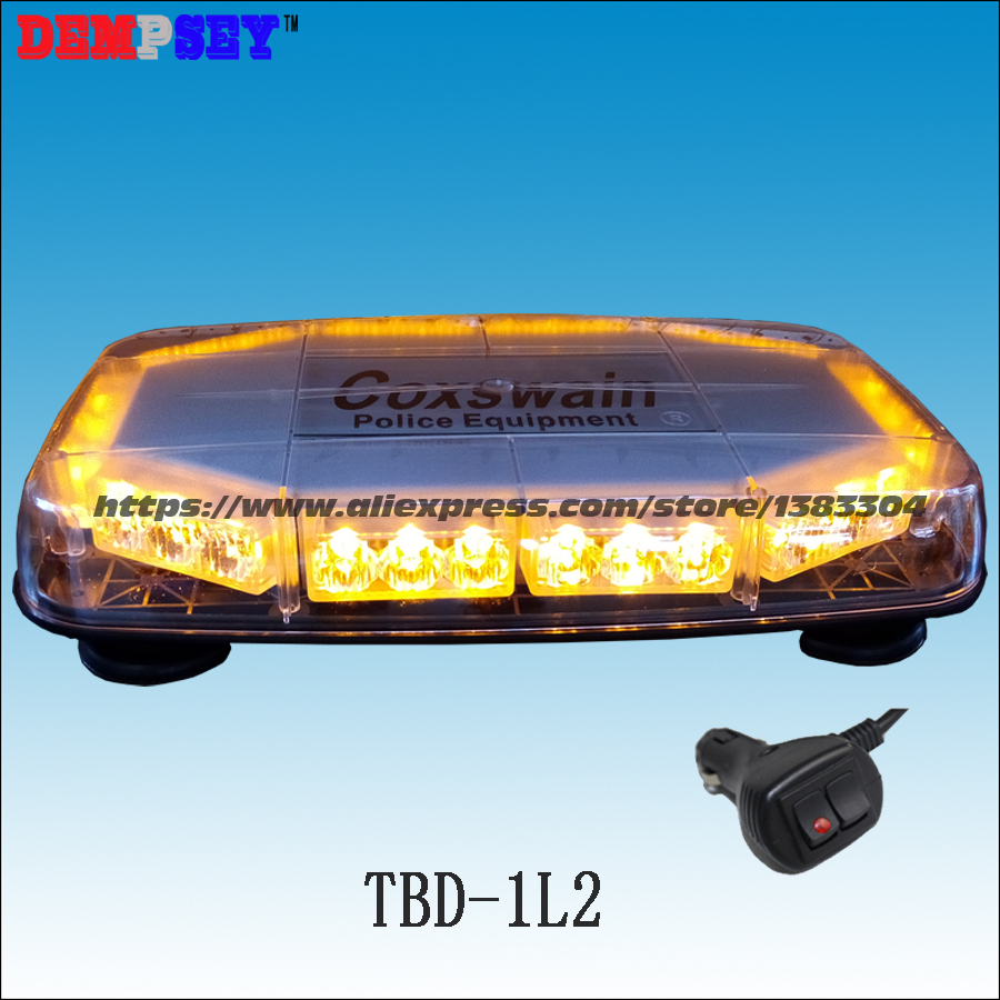TBD-1L2 High quality Yellow LED mini lightbar,Car Flashing warning light,amber emergency light,cigar light switch 18 flash