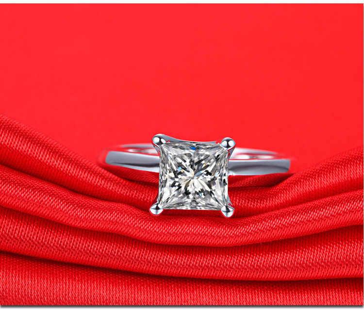 CJZBLXLX01172Princess สแควร์แหวนคาร์บอนแหวนเพชร Platinum Texture ผู้หญิงหรูหราแหวน SONA แหวนเพชรแต่งงานแหวน