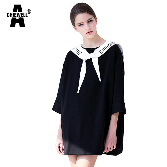 ccbeb8b632fa Achiewell Summer Casual Loose Women Dress Round Neck Sailor Collar Flare  Sleeve Straight Pure Color Onesize