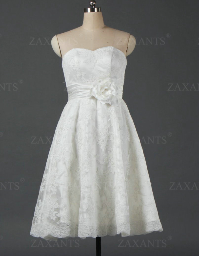 cw223 vintage strapless mid length short wedding dresses