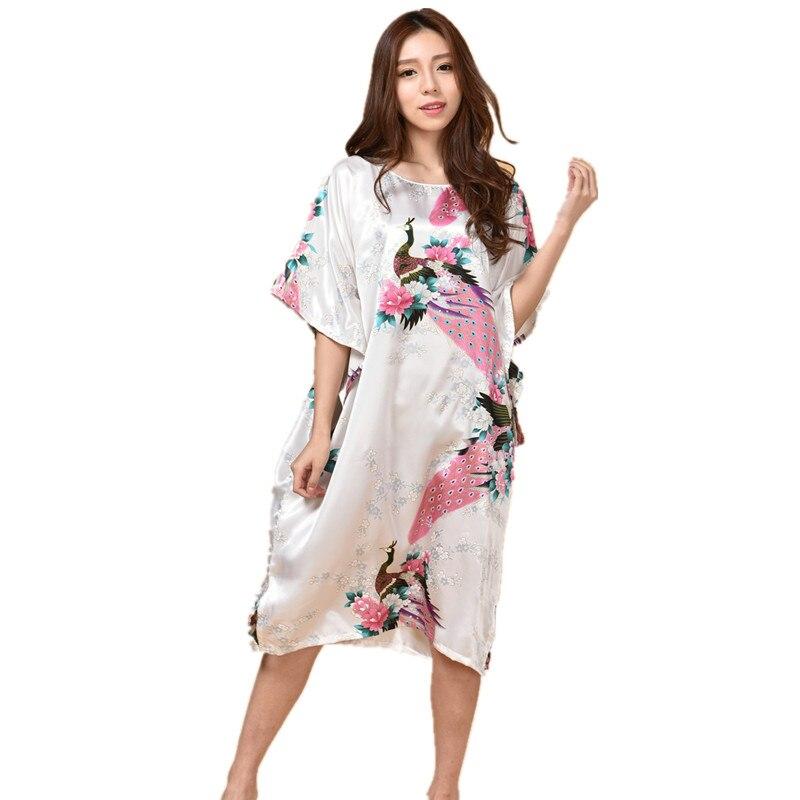 Hot Sale Chinese Women s Silk Sleepwear Robe Summer Lounge Home Dress  Printed Peacock Yukata Nightgown Plus Size J06-in Robes from Underwear    Sleepwears on ... 38b981619
