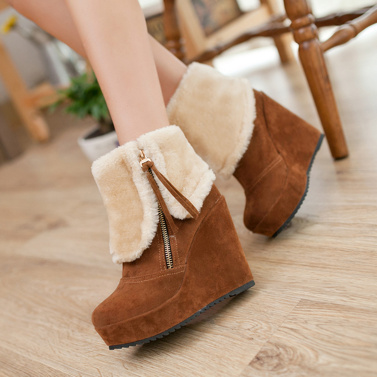 ФОТО South korean style winter plush nubuck leather ankle boots slipsole side zipper fashion all-purpose motorcycle boots women boots