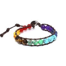 Chakra Bracelet Jewelry Handmade Multi Color Natural Stone Round Beads Leather Wrap Couple Bracelets Dropship