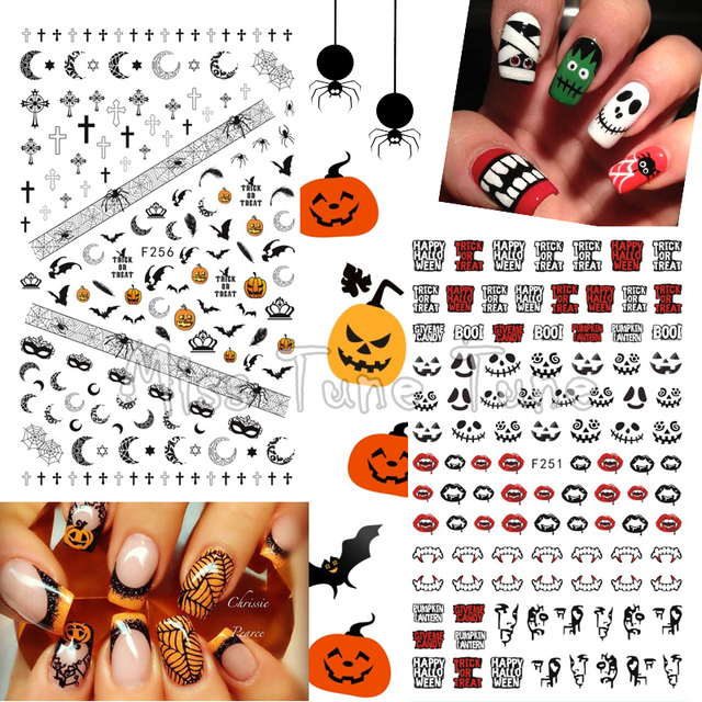 1 Sheet Halloween Nail Art 3d Stickers Premium Quality Nail