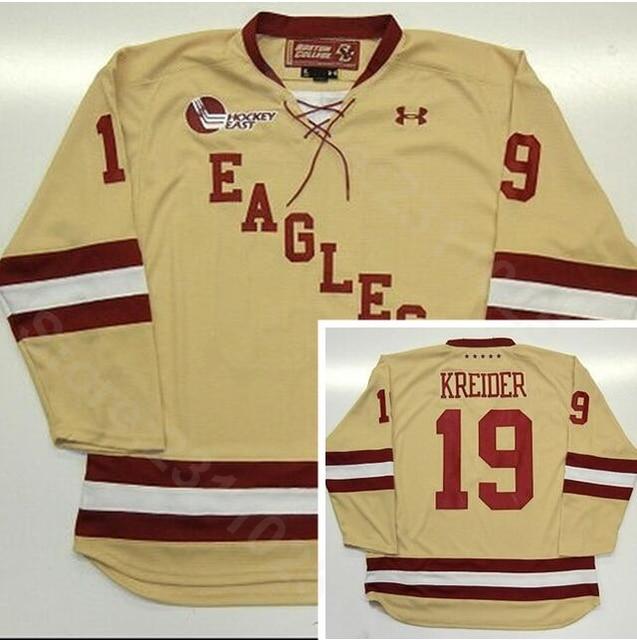 55112f0f9 Ediwallen College 19 Chris Kreider Jersey Men Boston Eagles Ice Hockey  Jerseys Cheap Yellow Team Color Breathable Good Quality