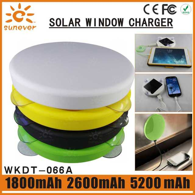 SUNEVER solar charger universal solar battery charger external power backup 5200mah powerbank  with suckers round power bank
