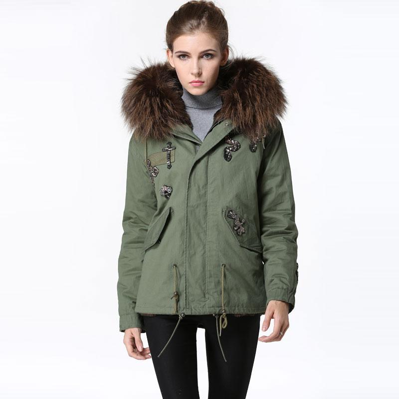 Winter Army Green Warming Fur parkas Black Coffee fur Snake beading jacket women Raccoon fur hooded