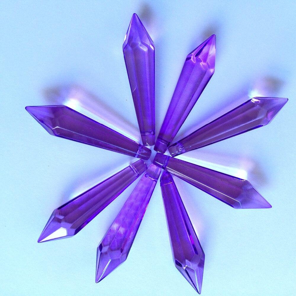 200 шт./лот Фиолетовый Стеклянные сосульки люстра 52 мм кристалл Призмы Подвески для дня рождения Свадебный торт Топпер, даже вечеринок