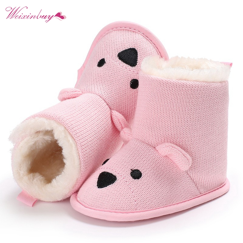 New Fashion Baby Winter Shoes Boots Cute Cartoon Bear First Walkers Knitted Keep Warm Booties Infant Toddler Newborn Boots