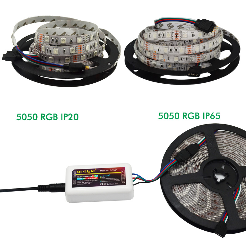 Image 2 - RGBW 12V LED Strip 5050 Waterproof IP20/IP65 Flexible led Light Tape+ Mi Light RF Touch Remote+WiFi Box+4pcs 4 Zone Controller-in LED Strips from Lights & Lighting