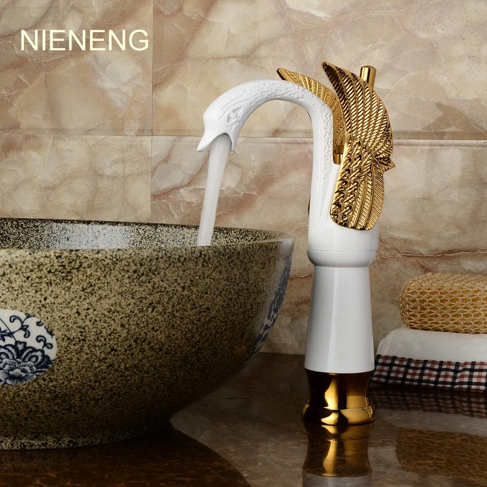 NIENENG swan faucets bath sink mixer water bathroom faucet golden tap accessories hotel settings mixers WC basin taps ICD60194