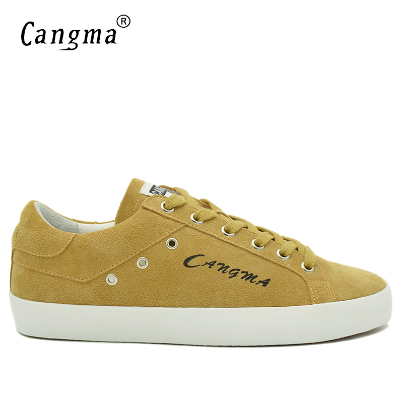 CANGMA Luxury Fashion Brand Sneakers Men Shoes Cow Suede Mans Footwear Genuine Leather Breathable Casual Shoes Male Yellow Flats blaibilton men casual shoes luxury brand genuine leather flat fashion designer breathable mens shoes casual male footwear sd6219
