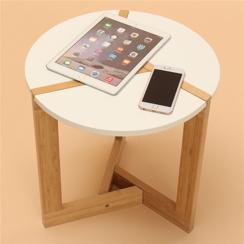40*41CM White Bamboo Simple Small Side Table Sector pattern Tea Coffee table for Living room unique new simple cm 379