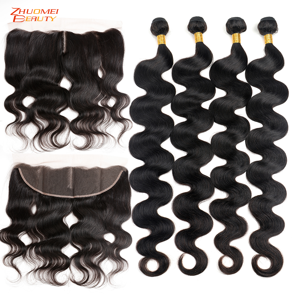 28 30 40 Inch Body Wave Bundles With Closure Malaysian Hair Bundles With Closure Human Hair