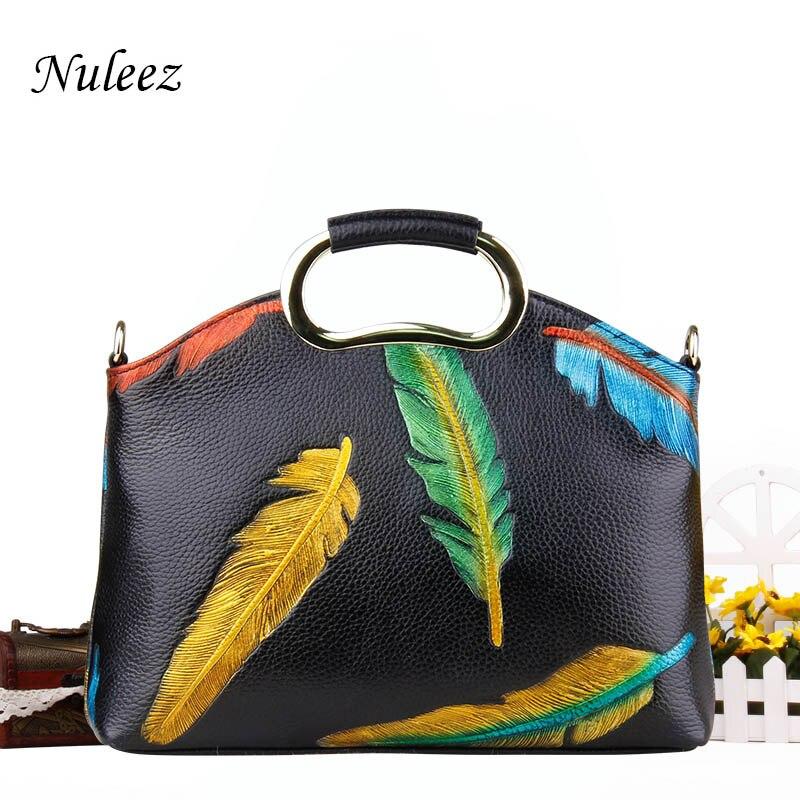 Nuleez sac en cuir véritable femmes sac de soirée embrayages de jour coloré plume décoration fourre-tout nouveau