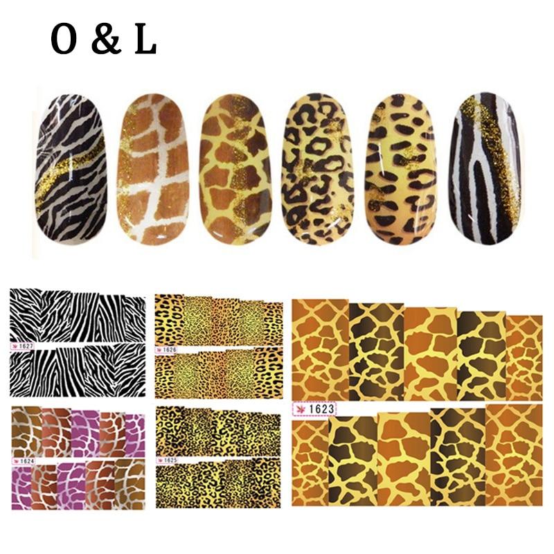 6pcs Water Transfer font b Nail b font font b Art b font Stickers Leopard Zebra