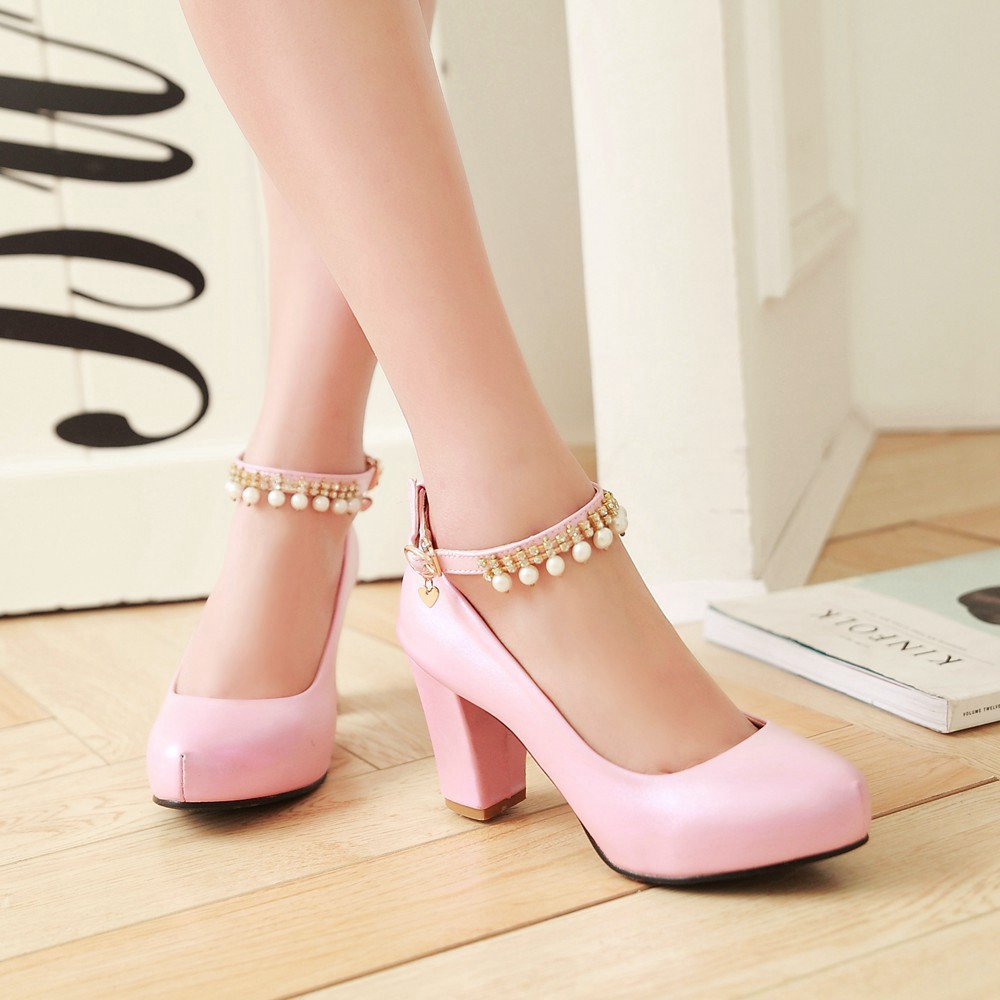2017 Chunky High Heeled Pink Bridal Wedding Shoes Beaded White Female Buckle Elegant Pumps Silver Gold29
