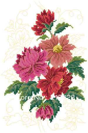 14CT Cross Stitches Blooming Peony flower 25*33cm FREE shipping CS-008FL-A