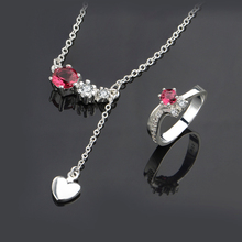 Hotselling Fashion 925 Silver Import Zircon Errow Crystal White Heart Pendant Jewelry Sets Necklace Rings For Women
