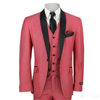 2017 Latest Coat Pant Designs Hot Pink Men Wedding Suits Slim Fit Tuxedo 3 Piece Groom Suit Prom Party Blazer Terno Masculino