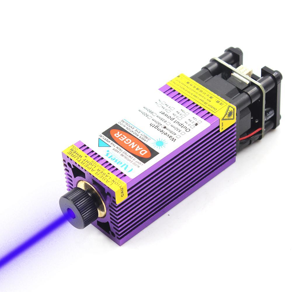 Oxlasers nouveau Module Laser bleu 450nm 2500 mW 3000 mW 3.5 W gravure Laser tête 5 W Laser focalisable avec dissipateur thermique violet PWM