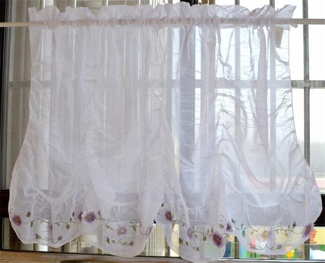Online shop 2016 window curtain embroidery purple flower kitchen 2016 window curtain embroidery purple flower kitchen sheer curtains voil curtains for the kitchen 150cm x 70cm mightylinksfo