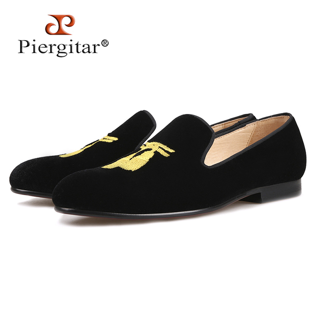 Piergitar 2018 New style Handmade Men Loafers With Tassel Embroidery  Leather insole Slip-on Fashion 14bd90117dd7