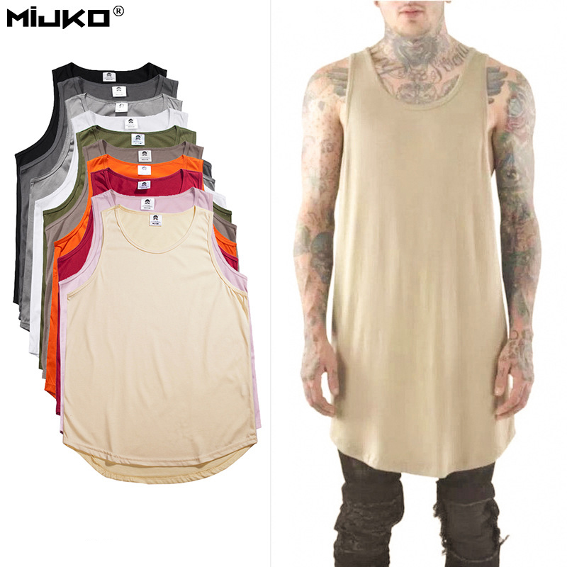 Tank     Top   Men Hip Hop Extend Long Tanktop Mens Summer Cotton Vest Sleeveless Solid   Tops   Fashion Regatas Masculino