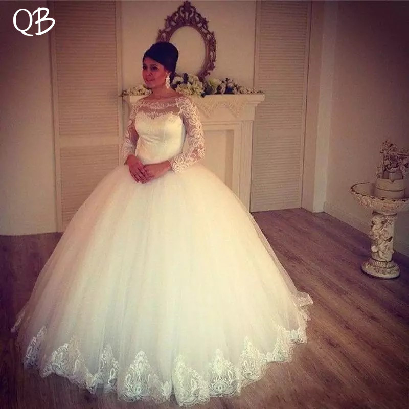 Ball Gown Long Sleeve Fluffy Skirt Tulle Lace Vintage Wedding Dresses 2019 New Fashion Bridal Gowns Custom Made DW242