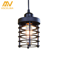 American Industrial Country Edison Retro Retro Iron Industrial Wind Chandelier Dining Room Fixtures Black Copper Chandelier