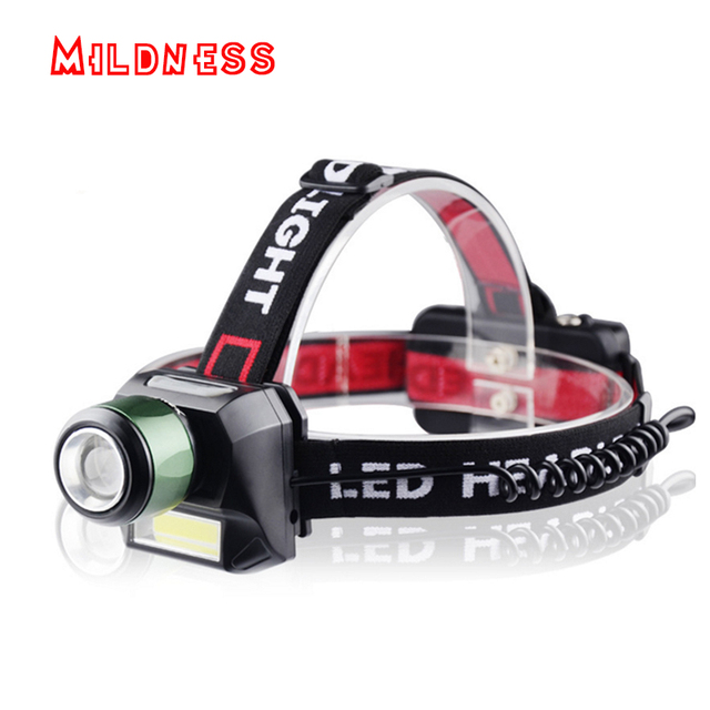 Mildness Cob Led Rechargeable Head Light Lamp Cree Zoom Headlights Floodlight Headlight Outdoor Searchlight 18650 Battery