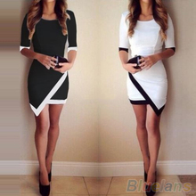 2016 New Women Asymmetric Contrast Color Bodycon Clubwear Cocktail Half Sleeve Wrap Dress