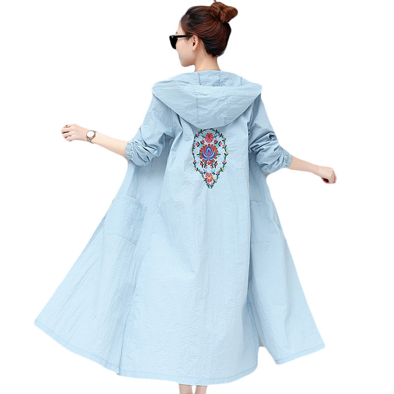 Women Long Hooded   Trench   Coat Floral Embroidery Thin Sunscreen Clothing New Spring Summer Windbreaker Plus Size 3XL Outerwear
