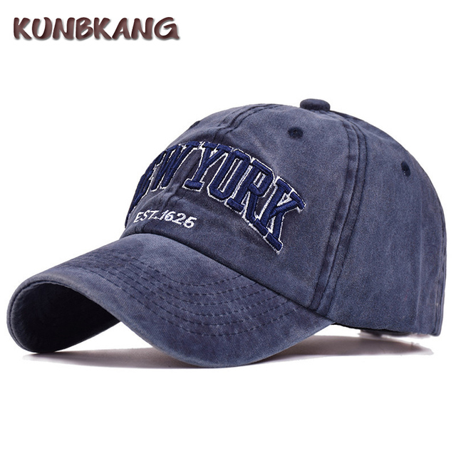 1341e23939c 100% Cotton Washed Denim Baseball Cap New York Embroidery Snapback Dad Hat  Casquette For Men