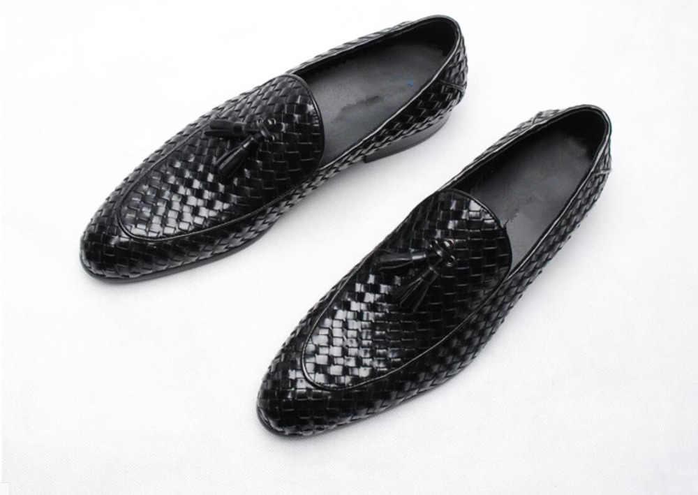 Z dzianiny skórzane włoskie buty dla mężczyzn 2018 wiosna lato mężczyzna Prom Party smokingi garnitury sukienka buty wiosna męskie oksfordzie na co dzień ślizgacz