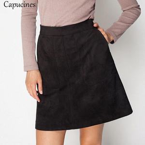 2019 Ladies Vintage Pockets Suede Skirt Women Solid Fashion A-line Autumn Winter Casual Mini Female Sexy Slim Fit Bodycon Skirts