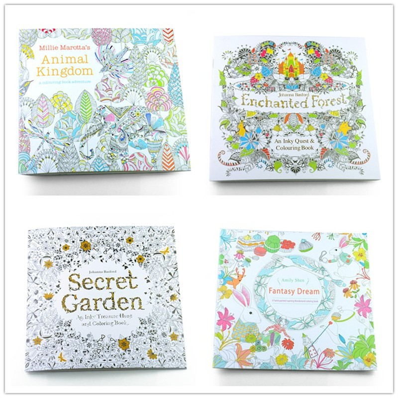 4PCS/LOT 24 Pages Secret Garden+Fantasy Dream+Enchanted Forest+Animal Kingdom Coloring Book Adult Relieve Stress Painting Book