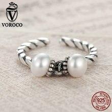 VOROCO Double Freshwater Pearls Vintage Elegant Vintage Steling Silver 925 Open Adjustable Rings for Woman Wedding Rings VSR015