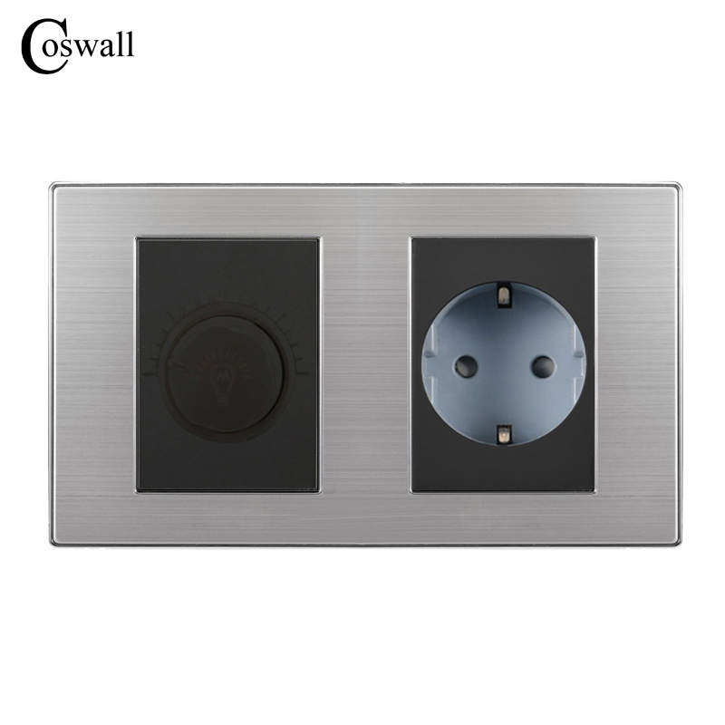 цена на Coswall 16A EU Standard Wall Socket With Dimmer Regulator Light Switch Stainless Steel Panel 160*86mm