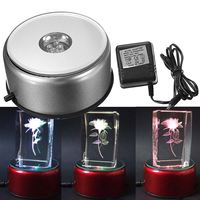 90mm Silver Colorful 4 LED Lighted Rotary Rotating Plastic Stand Base 3D Crystal Glass Showing Holder