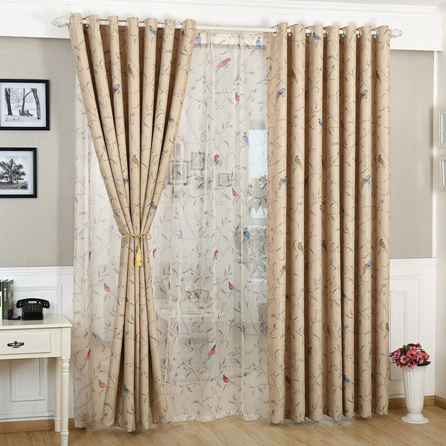 Rustic Flower Bird Blackout Coffee Curtains For Living Room Green Fabric Curtain Kids Bedroom Cartoon Tulle 12830